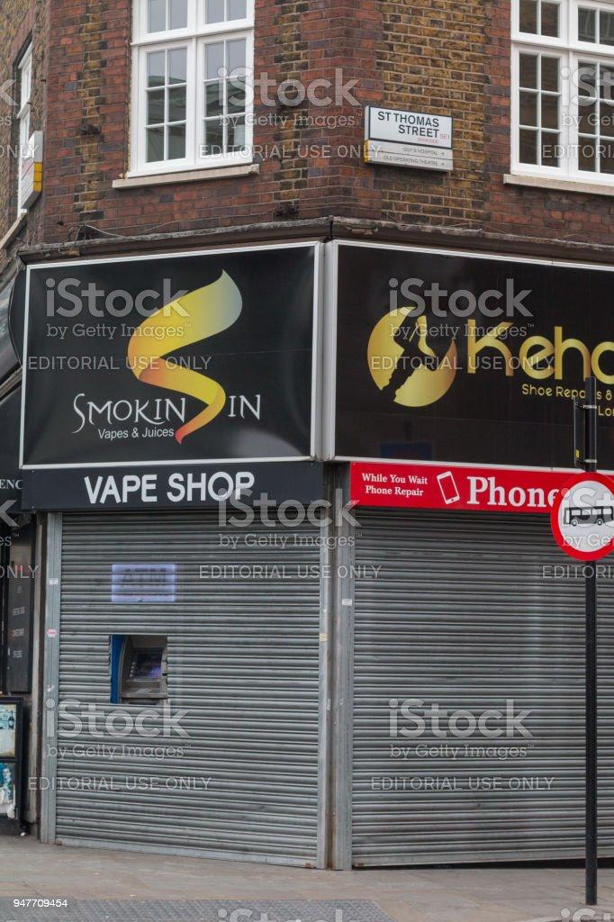 Smokin Sin Vape Shop in St Thomas Street, London stock photo