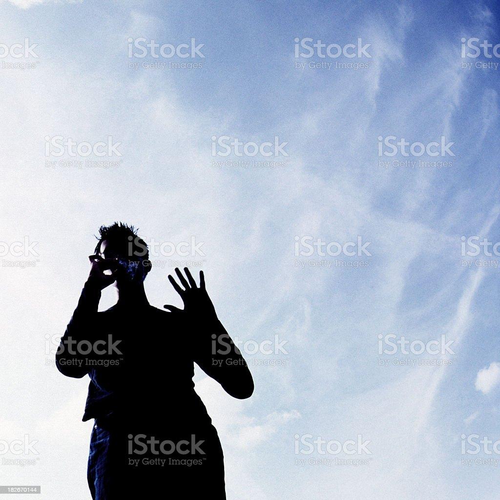 Smoking a silhouette sky royalty-free stock photo