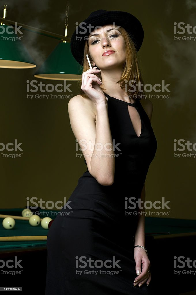 Smoking and billiards royalty-free stock photo