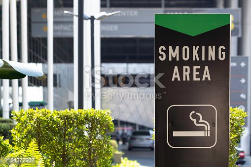 Smoking area sign outside the building.
