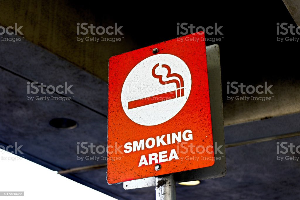 smoking area sign stock photo