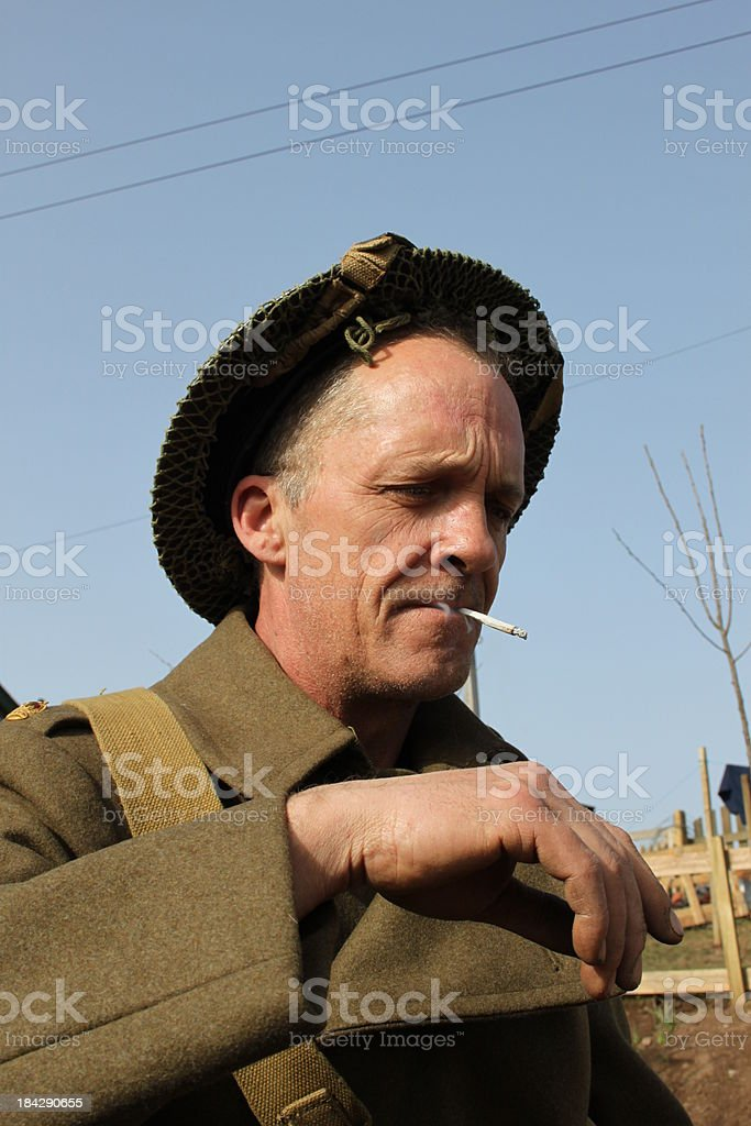 Smoking British Soldier. stock photo