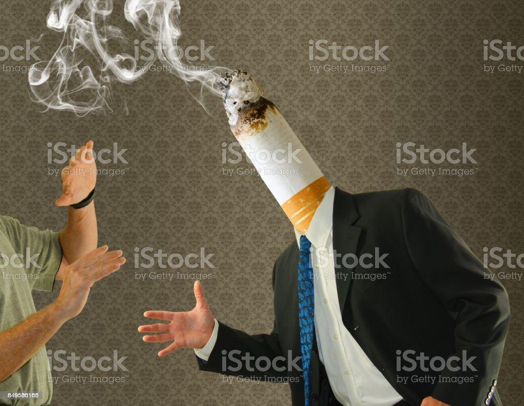 Räuchermann Hintern Kopf beenden Zigarette Raucherentwöhnung – Foto