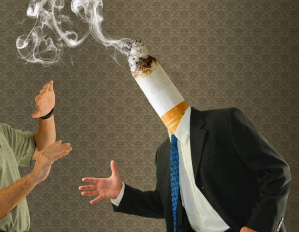 Smoking butt head man quit cigarette smoking cessation stock photo