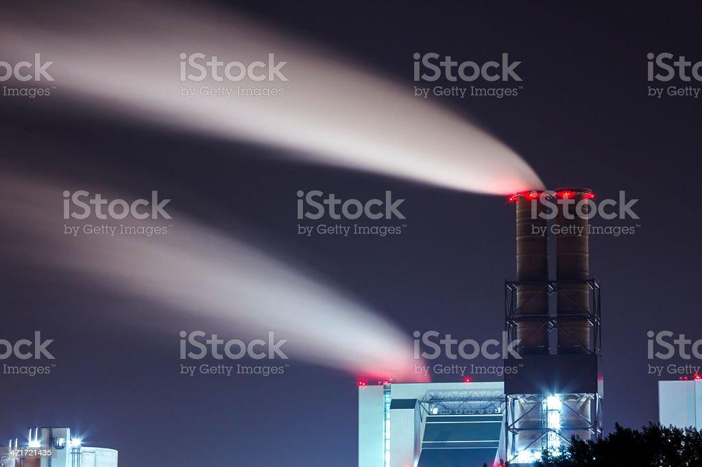 smoking chimney at night royalty-free stock photo