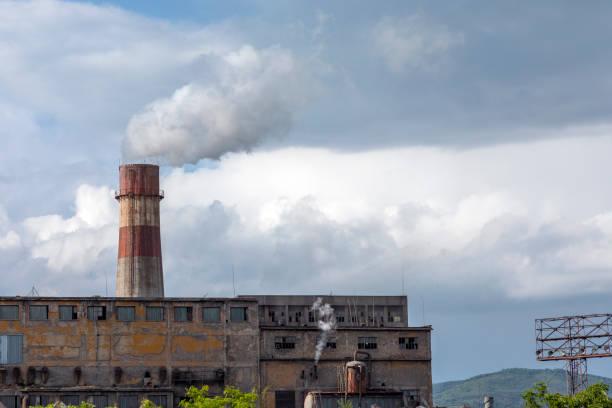Smoking chimney stock photo