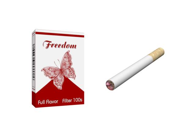 Smoking cigarette isolated on white background - 3d rendering stock photo