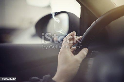 istock Smoking cigarettes while driving 690228280
