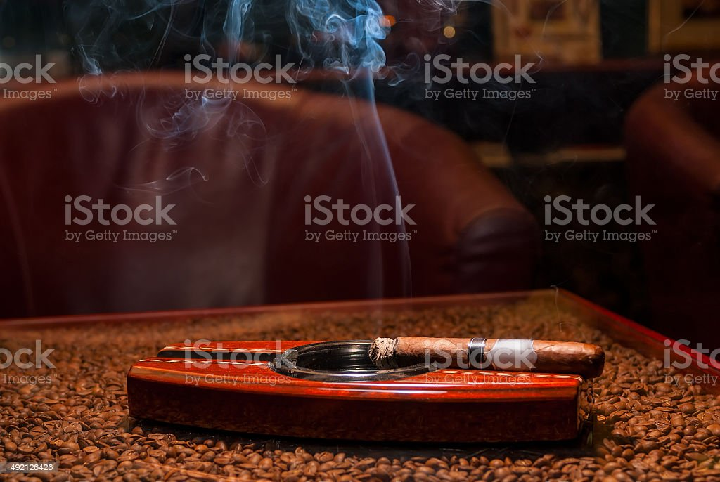 smoking expensive cigars in the ashtray on the table stock photo