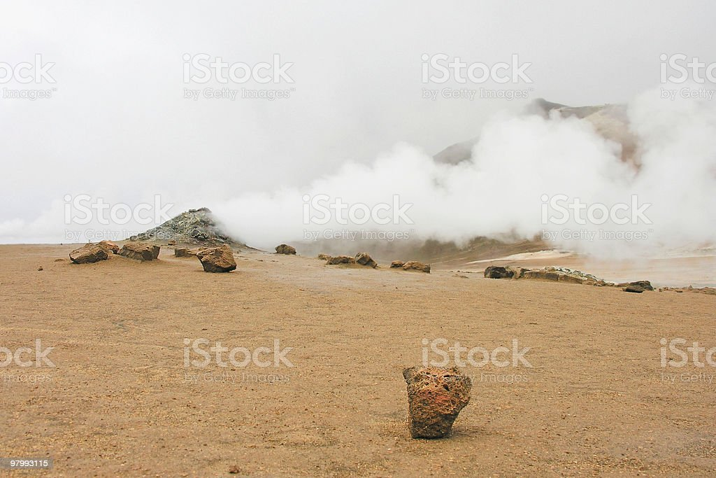 smoking fumarole royalty-free stock photo