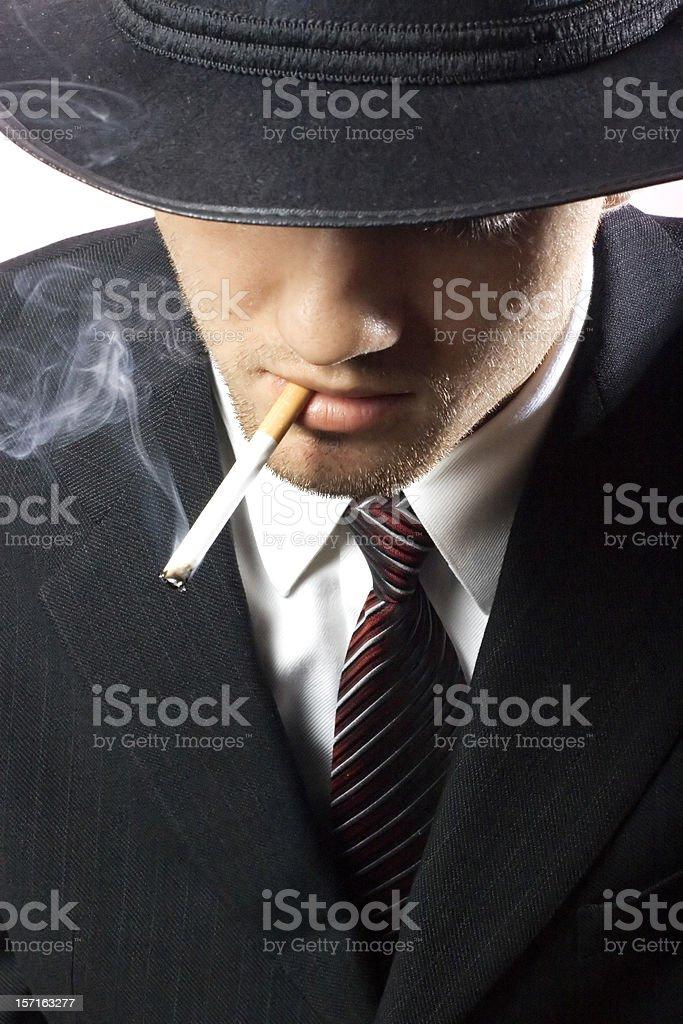 Smoking Gangster royalty-free stock photo