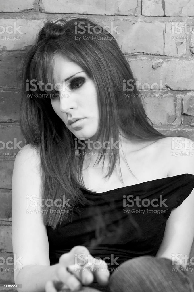 Smoking Girl (Black and White) royalty-free stock photo