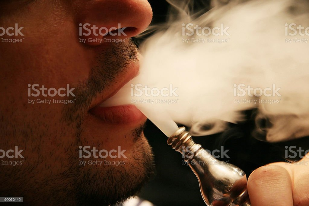 Smoking hookah stock photo