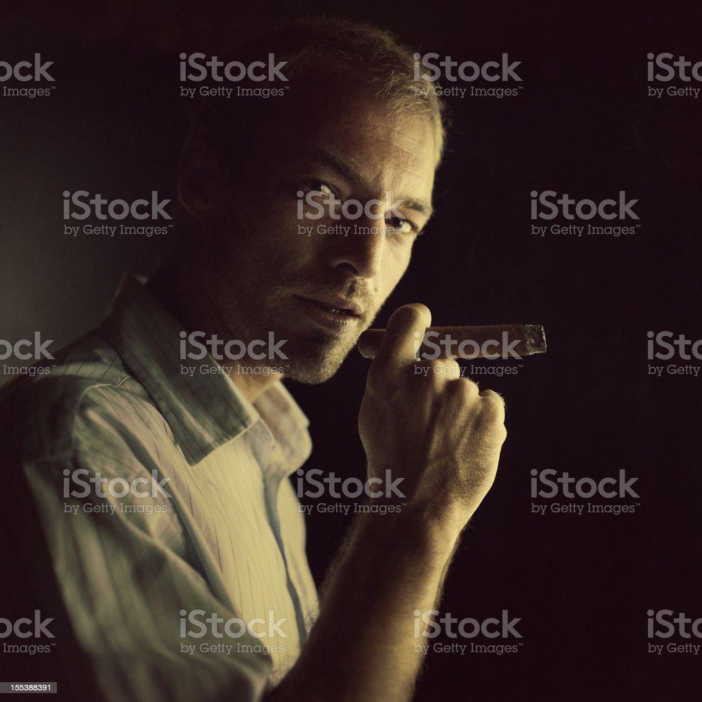 smoking in the dark stock photo