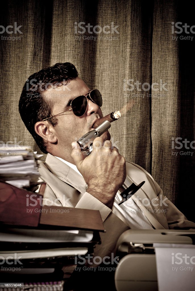 Smoking in the office royalty-free stock photo