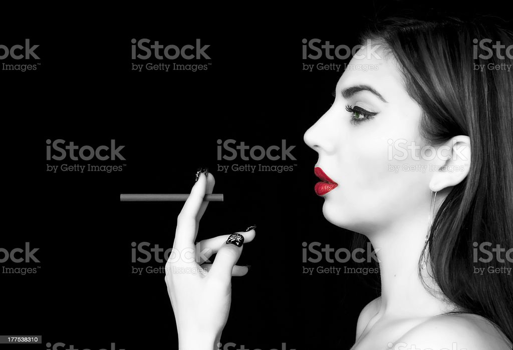 smoking lady royalty-free stock photo