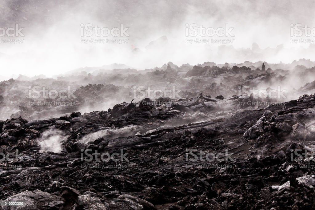Smoking lava fields at volcanoes National Park stock photo