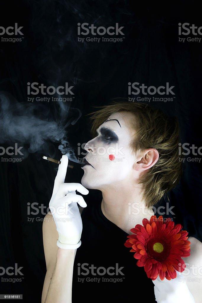 smoking mime with a smoke royalty-free stock photo