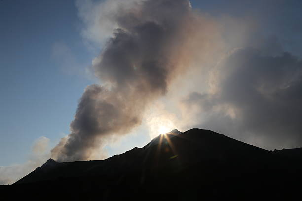 Smoking mountain  Volcano  Stromboli stock photo