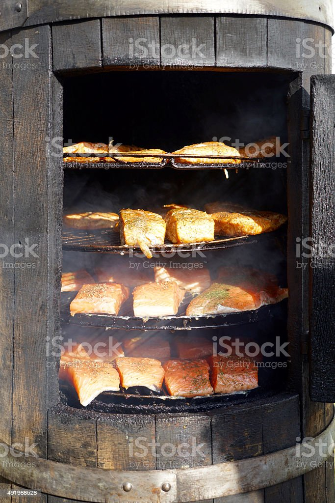 smoking oven stock photo