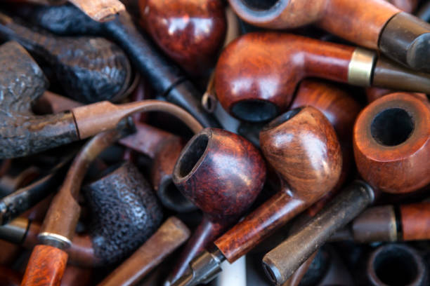 Smoking pipes collection backgrounds stock photo