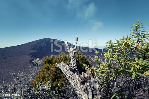 piton de la fournaise volcano (peak of the furnace volcano) at reunion island, mascarene islands, french overseas territory.