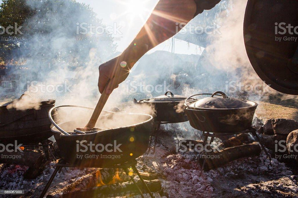 Smoking Pots stock photo