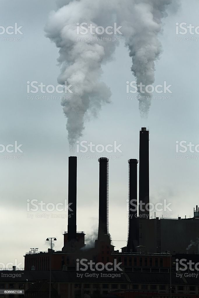Smoking power plant stock photo