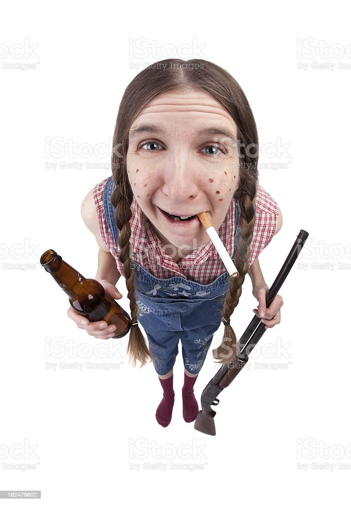 Smoking Redneck Woman With Gun and Beer stock photo
