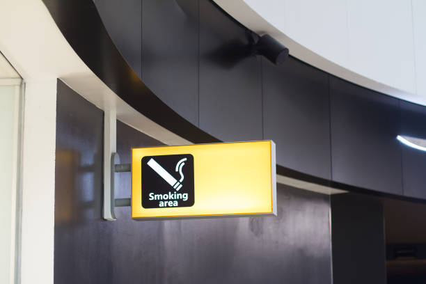 smoking sign in a business building stock photo