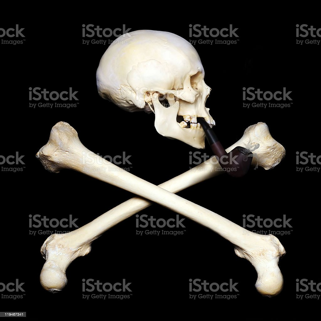 Smoking skull royalty-free stock photo