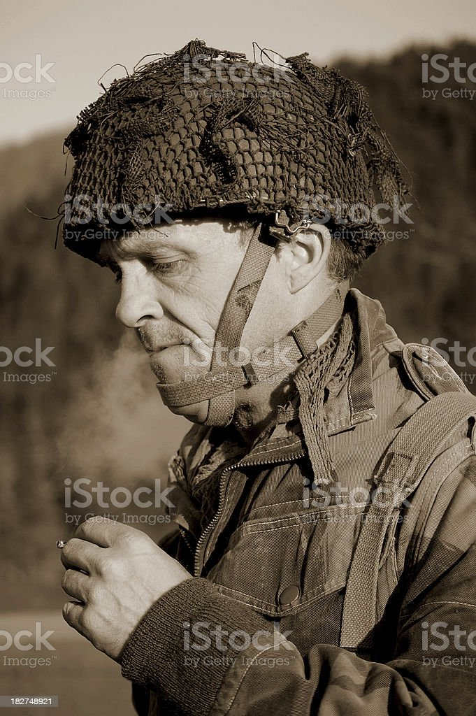 Smoking Soldier. stock photo