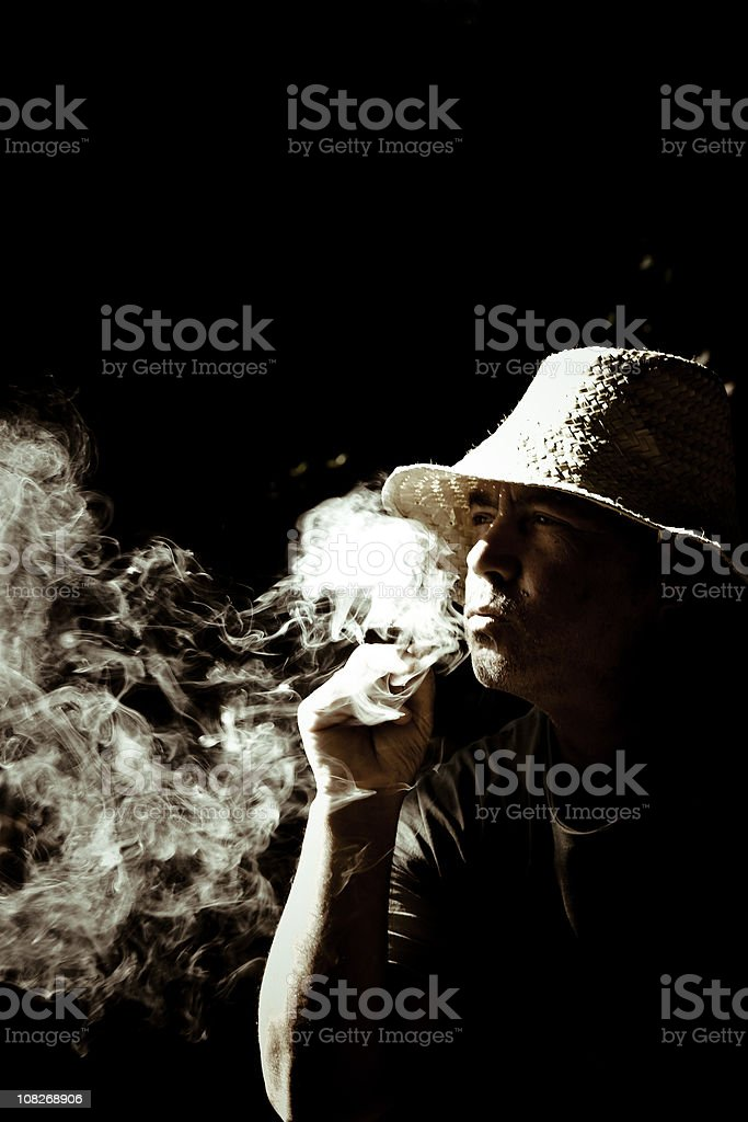Smoking Wise Man royalty-free stock photo