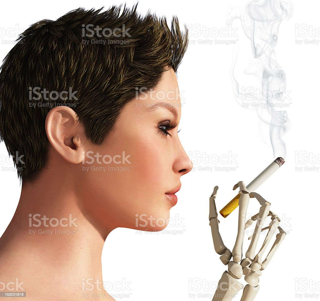 smoking woman and hand skeleton royalty-free stock photo