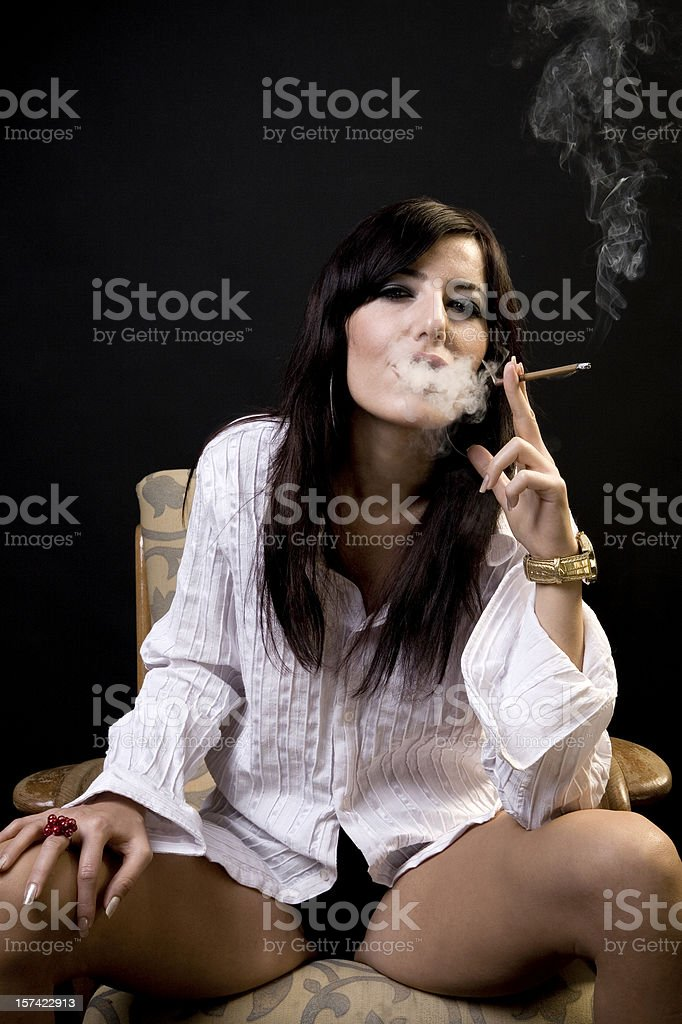 Smoking woman royalty-free stock photo