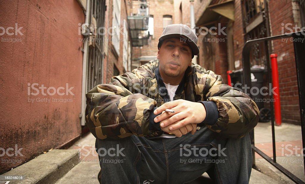 Smoking Young Man stock photo