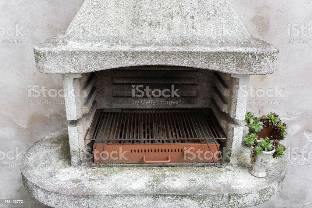 Rauchigen Antiken Steinofen Im Freien Mit Asche Im Inneren Alte