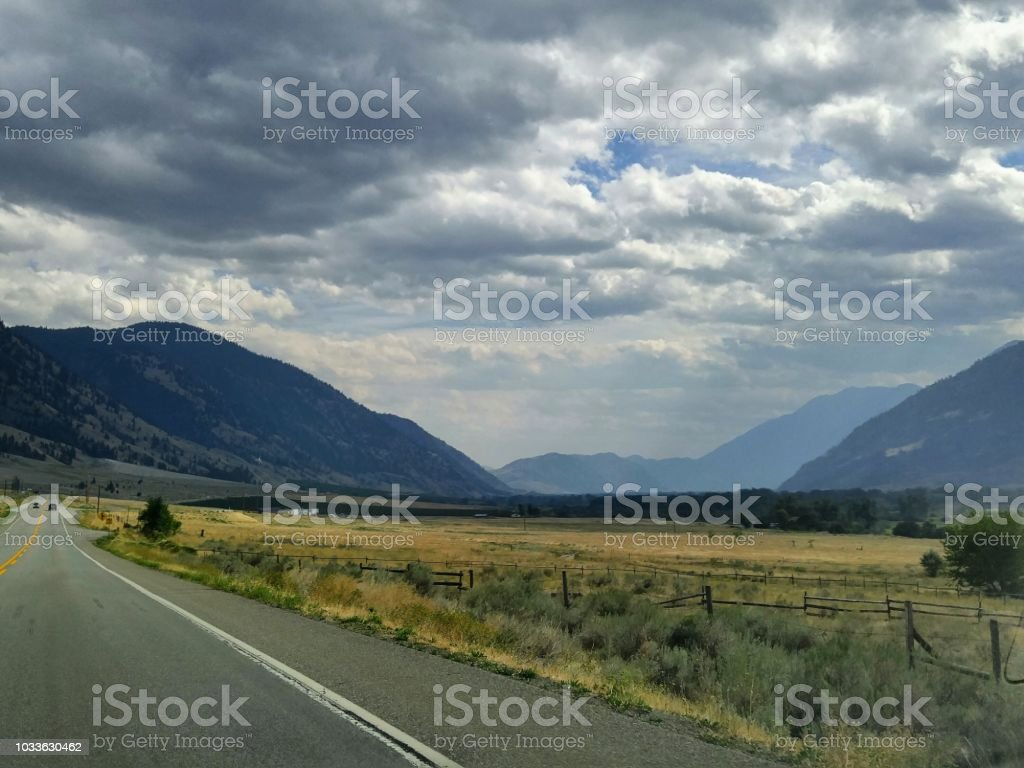 A smoky desert valley in late summer in BC stock photo