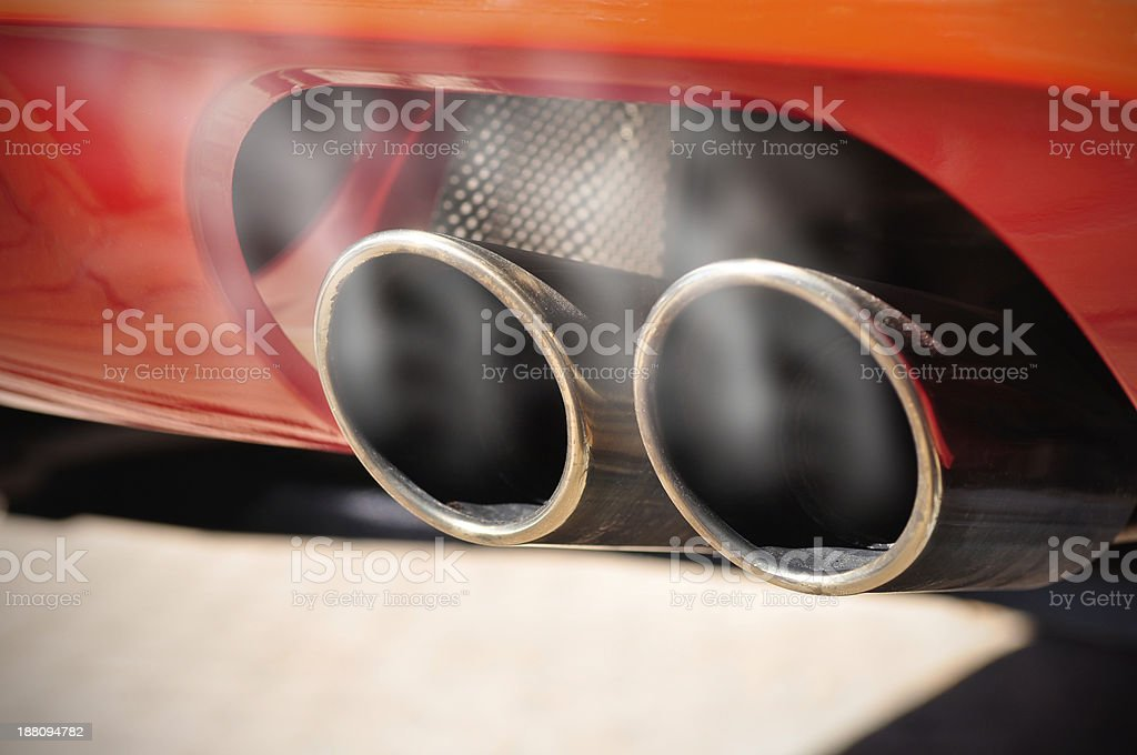 Smoky Exhaust Pipe stock photo