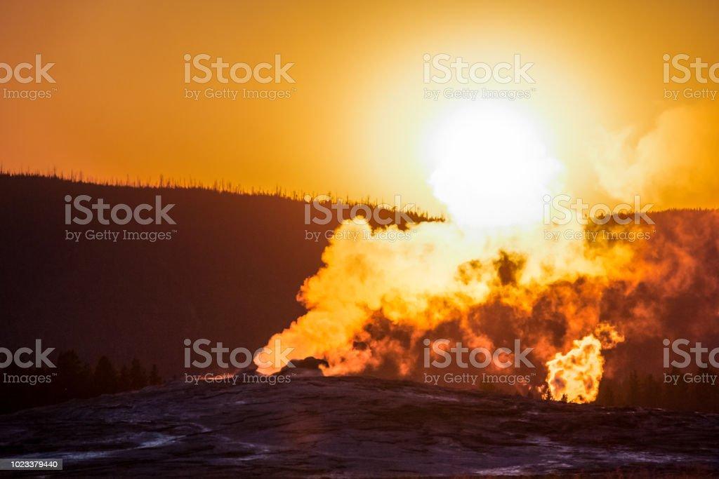 Smoky geyser stock photo