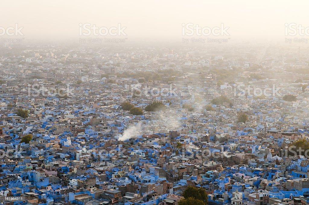 Smoky Jodhpur's urban landscape stock photo