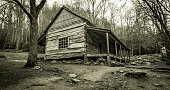 istock Smoky Mountain Cabin In Black And White 519345088