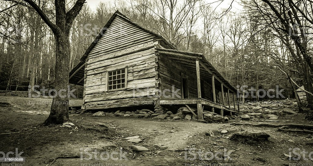 Smoky Mountain Cabin In Black And White stock photo