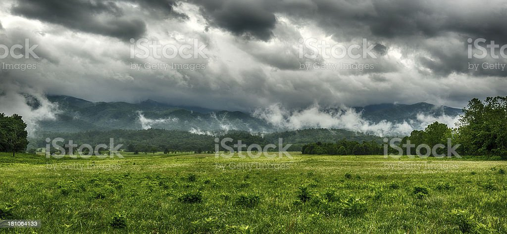 Smoky Mountain Panorama On A Stormy Spring Day royalty-free stock photo