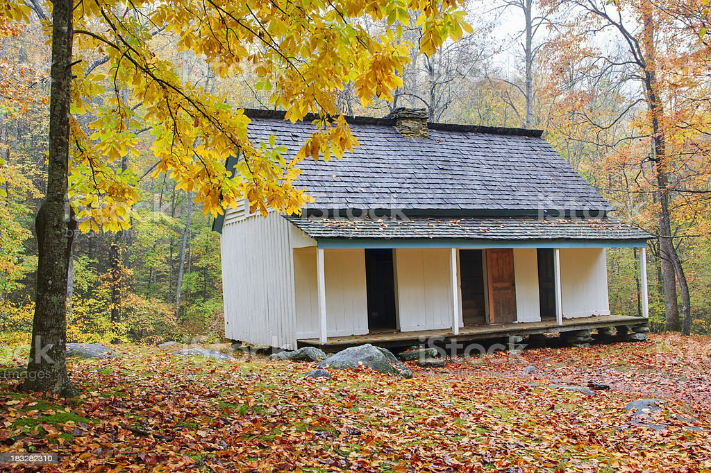 Smoky Mountain Settlers Cabin in Autumn royalty-free stock photo