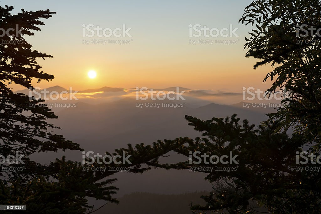 Smoky Mountain sunrise view from Mt. Le Conte stock photo