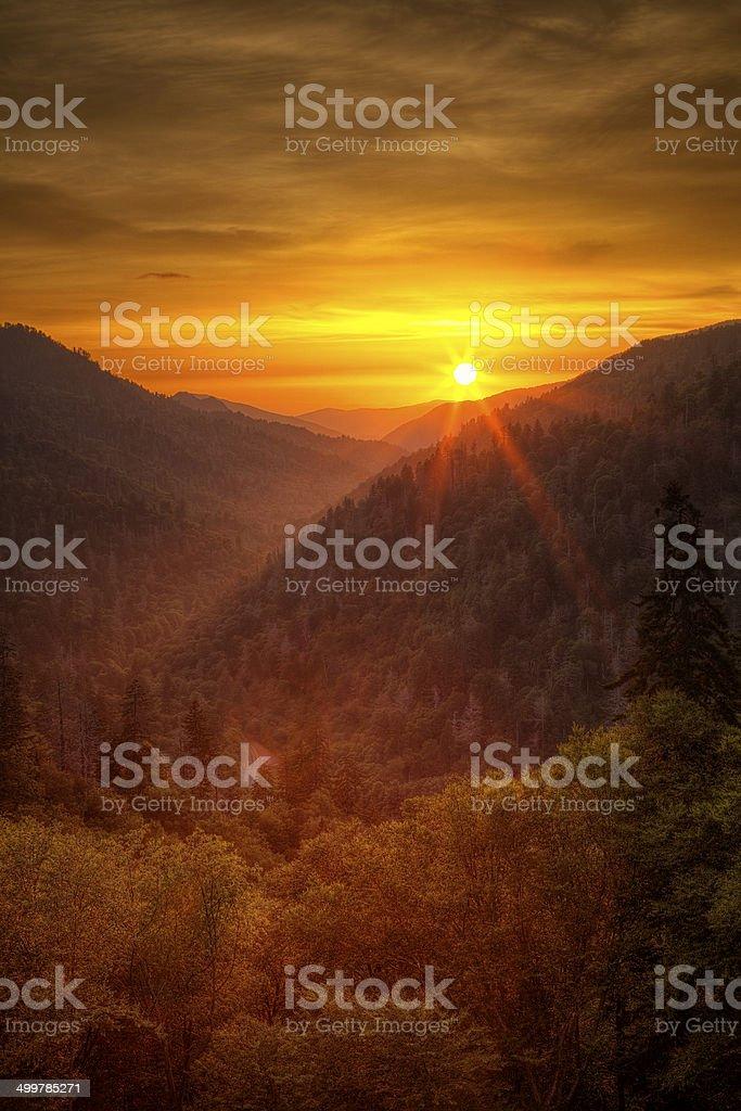 Smoky Mountain Sunset stock photo