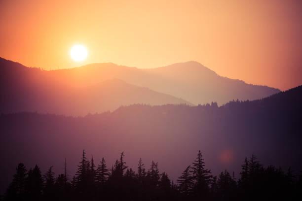 smoky mountain sunset - mountain sunset stock photos and pictures