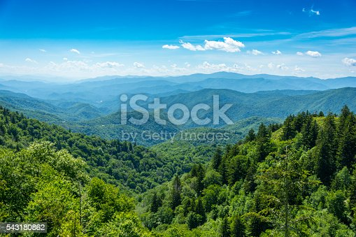 A view over the tops of trees to the Smoky Mountain range in Tennessee, USA.