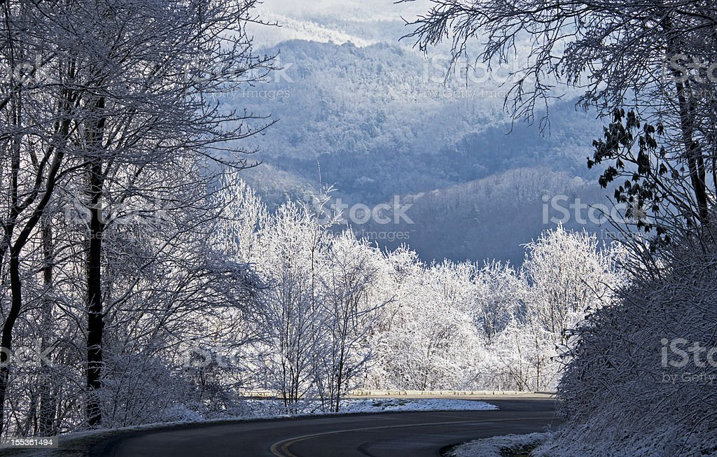Smoky Mountains Winter Panoramic stock photo
